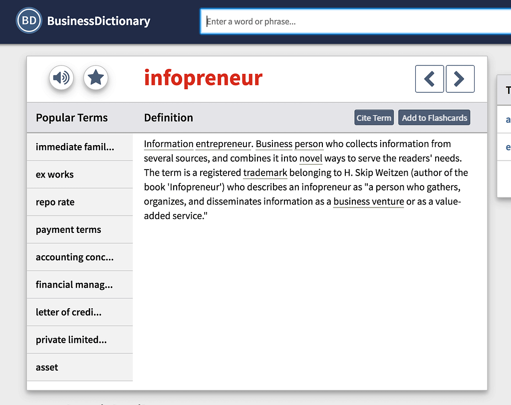 Infopreneur definition