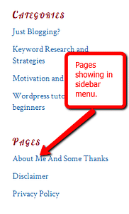 Pages WordPress Sidebar